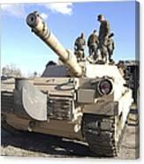 Soldiers Get Their Battletank Ready Canvas Print