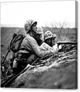 Soldiers Locate Enemy Position On A Map Canvas Print