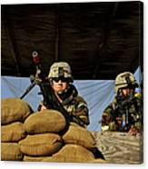 Soldiers Provide Security Canvas Print