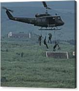Soldiers Rappel From A Helicopter Canvas Print