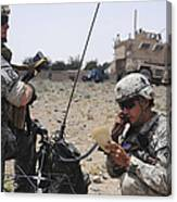 Soldiers Setting Up A Satellite Canvas Print