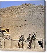 Soldiers Wait For Afghan National Canvas Print