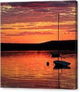 Solitary Sailboat At Sundown Canvas Print