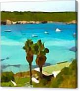 Son Saura Bay And Palms Canvas Print