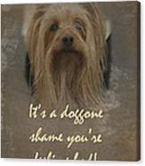 Sorry You're Sick Greeting Card - Cute Doggie Canvas Print
