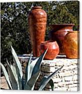 South Western Pottery And Cactus Canvas Print