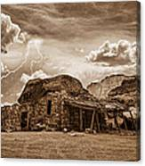 Southwest Indian Rock House And Lightning Striking Canvas Print