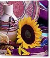 Southwestern Still Life With Sunflower Canvas Print