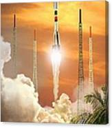 Soyuz-2 Rocket Launch, Artwork Canvas Print