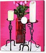 Spa Roses And Candles Canvas Print