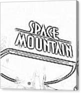 Space Mountain Sign Magic Kingdom Walt Disney World Prints Black And White Photocopy Canvas Print