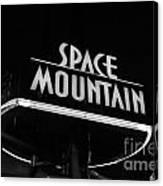 Space Mountain Sign Magic Kingdom Walt Disney World Prints Black And White Canvas Print