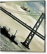 Space Shuttle And San Francisco Bay Bridge  Canvas Print