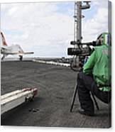Specialist Records Video Of Flight Deck Canvas Print
