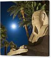 Sphinx And Date Palms With Full Moon Canvas Print