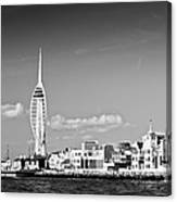 Spinnaker Tower And Round Tower Portsmouth Bw Canvas Print