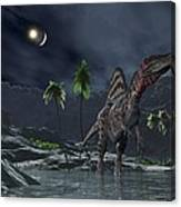 Spinosaurus Witnessing A Lunar Impact Canvas Print