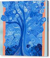 Spiral Tree Winter Blue Canvas Print