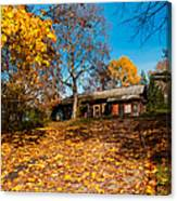 Splendor Of Autumn. Wooden House Canvas Print