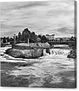 Spokane Falls From Lincoln Street Bridge In B And W Canvas Print