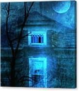 Spooky House With Moon Canvas Print