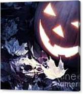 Spooky Jack-o-lantern On Fallen Leaves Canvas Print
