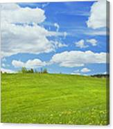 Spring Farm Landscape With Blue Sky In Maine Canvas Print