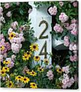 Spring Flowers And Fencepost Canvas Print