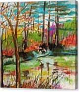 Spring Pond Side Canvas Print