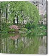 Spring Reflections Of Manhattan In Central Park Canvas Print