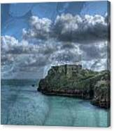 St Catherines Rock Tenby With A Shell Texture Canvas Print