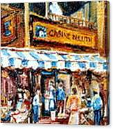 St. Denis And Prince Arthur Montreal Cafe Scene Canvas Print