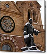 St Francis Cathedral In Santa Fe - Winter Canvas Print