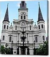 St Louis Cathedral And Fountain Jackson Square French Quarter New Orleans Accented Edges Digital Art Canvas Print