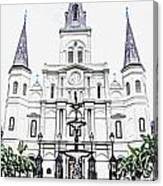 St Louis Cathedral And Fountain Jackson Square French Quarter New Orleans Colored Pencil Digital Art Canvas Print