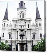 St Louis Cathedral And Fountain Jackson Square French Quarter New Orleans Diffuse Glow Digital Art Canvas Print