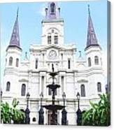 St Louis Cathedral And Fountain Jackson Square French Quarter New Orleans Film Grain Digital Art Canvas Print