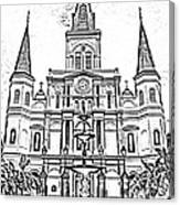 St Louis Cathedral And Fountain Jackson Square French Quarter New Orleans Photocopy Digital Art Canvas Print