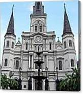 St Louis Cathedral And Fountain Jackson Square French Quarter New Orleans Poster Edges Digital Art Canvas Print