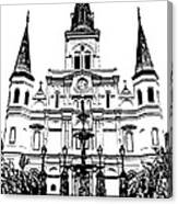 St Louis Cathedral And Fountain Jackson Square French Quarter New Orleans Stamp Digital Art Canvas Print