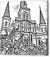 St Louis Cathedral Rising Above Palms Jackson Square New Orleans Photocopy Digital Art Canvas Print