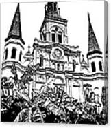 St Louis Cathedral Rising Above Palms Jackson Square New Orleans Stamp Digital Art Canvas Print