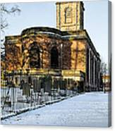 St Modwen's Church - Burton - In The Snow Canvas Print