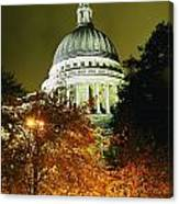 St Pauls Cathedral At Night With Trees Canvas Print