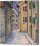 St Ursanne In Snow Canvas Print