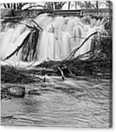 St Vrain River Waterfall Slow Flow Bw Canvas Print