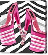 Stack 'em High Pink Platforms On Zebra Canvas Print