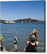 Stacking Rocks And Ferry Canvas Print