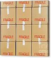 Stacks Of Cardboard Boxes Marked 'fragile' Canvas Print