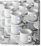 Stacks Of Cups And Saucers Canvas Print